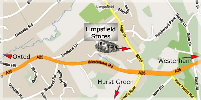 Map showing location of Limpsfield Stores